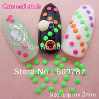 2000pcs/lot 2mm Fluorescent Green Color Round 3d metal nail studs nail decorations