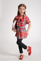 free shipping summer red plaid fashion long kids girls blouses girl's fashion children dresses cotton shirt blouse clothing belt
