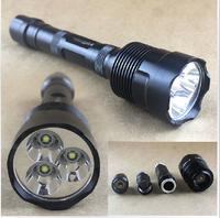 Free shipping Brand New High Power 3800 lumens Aluminum Flashlight Torch 3xCREE XM-L T6 Power By 3 x 18650 Battery
