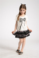 free shipping 2013 fashion christmas summer baby girls clothing sets girls fashion white bow t shirt girl kids plaid skirt set