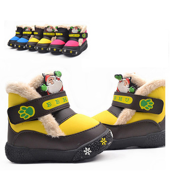 2013 Winter New Cute Father Christmas Baby Boy Girl Velcro Non-Slip Snow Boots Children Kids Infant Winter Casual Shoes