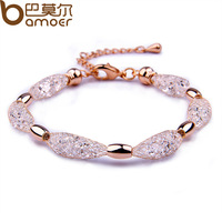 Bamoer 2015 Hot Sell 18K Rose Gold Plated Crystal Chain Bracelet for Women Luxury High Quality Jewelry JSB017