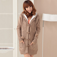 women's knitting long-sleeve medium-long thickening with a hood overcoat sweater cardigan female outerwear