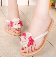 2013 flat heel flower slippers summer sandals platform beach flip flops women's shoes