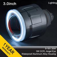 "3GQL 3.0"" inch 35W H1 H7 H4 H13 9004 9007 HB3 HB4 HID bi xenon projector Lens Kit CCFL Lens Angel Eyes + 2pcs 35W AC Ballasts"