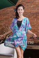 Free shipping big size dress fashion chiffon shirt blouse casual women's v-neck fashion bat sleeve lady dress large yards lady