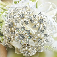 EMS Free Shipping Art handmade Pearl Ribbon Bow Ivory Brooch Bridal Bouquet Wedding Decorations