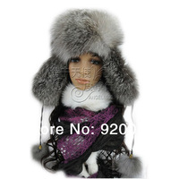 Free Shipping 2013 Winter New  Fashion  Fox Fur Ear  Hat White Black Orange Self-shade Women's Fur Cap Men Fur Hat Female Male
