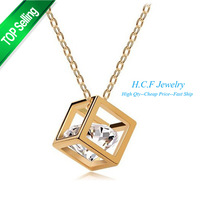 2014 New 18K GP Fashion Crystal Jewelry Square Necklace Solid Love Female Temperament super flash small squares Free shipping