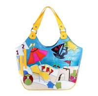 TB Fashion Romantic Blue Beach Pattern Women Handbags Female Color Block Canvas Shoulder Big Tote Bags