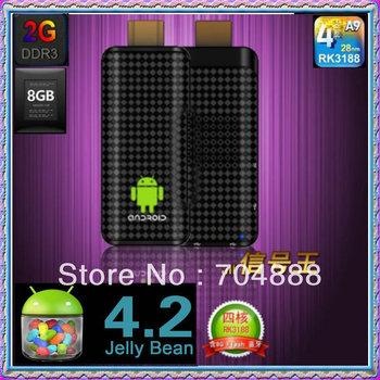 Free shipping Android4.2 TV Box  Rockchip3188  Quad Core  2GB RAM 8GB ROM  IP tv TV Stick android tv box