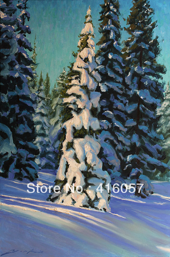 Oil Paintings of Pine Trees Winter Pines Oil Painting