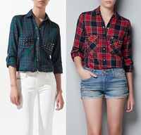 2014 New Fashion Plaids Checks Flannel Womens Button Down Casual Shirts Tops Blouses Female Free Shipping