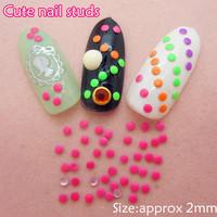 2000pcs/lot 2mm Fluorescent Candy Colors Stud Rhinestones Nail Art