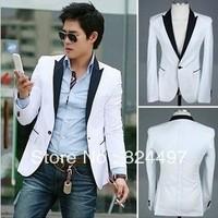 New Stylish Men's Blazer Casual Slim fit One Button Pop Suit Blazer Coat Jacket White Free Shipping N0139