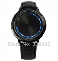 One Pieces Fashion Abyss Inspired Blue Light LED Touch Screen Leather Men's Boy Male Black Binary Watches Free Shipping New 2014