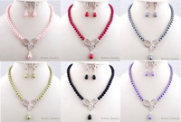 Bulk Sale 12Sets Mix Color Bowknot Imitate Pearl Necklace Earring Set Tassel Lady  Anniversary  Party Jewelry