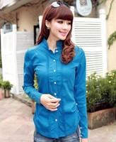 Free Shipping 2014 Autumn Women's Autumn Single Breasted Long-Sleeve Shirt  1036