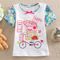 FREE SHIPPING K4076# Kids wear clothing 2013 fashion hot cotton peppa pig short sleeve t-shirts