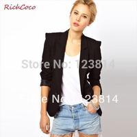 Fashion Blazer Women Casual Slim Forked Back Turn-Down Collar Long Sleeve Autumn Summer Casacos Fashion Free Shipping D048