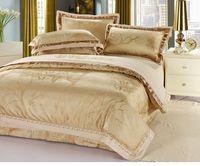 Noble silk/cotton jacquard bedding set luxury brand designer duvet cover set king size 4pc printed cotton bed linen