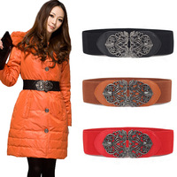 Free Shipping ! 2014 Hot sale Fashion New Style Vintage Sexy Women Retro Totem Buckle Wide Elastic Waist Belt Waistband