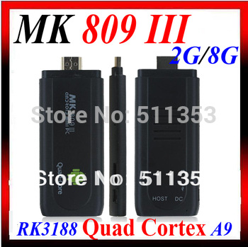 New Skin! MK809 III Quad Core Mini PC Androind TV BOX OS 4.2.2 Rockchip RK3188 Cortex A9 2GB RAM 8GB ROM 1.8GHz Max MK809 III
