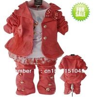 Baby children girls clothing sets suits kids 3pcs coat hoody+shirt+pant trouses baby clothes wear