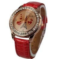 Min. Order $8 rose gold color crystal inset eiffel towel watch face wrist watch