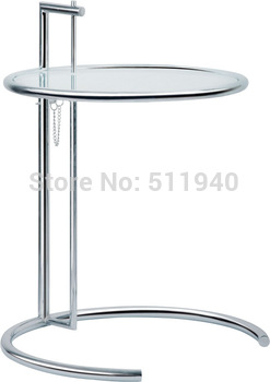 1 piece adjustable tempered clear glass chromed steel side Elieen gray coffee table