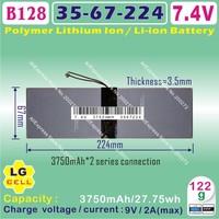 [B128] 7.4V,3750mAH,[3567224] PLIB ; polymer lithium ion / Li-ion battery ( LG cell )for tablet pc; Ainol NOVO10 hero dual core