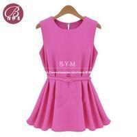 2014 Summer new women's Short Sleeves Chiffon Blouses & Shirts vest shirt send belt free shipping 103