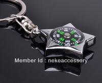 free shipping fashion star shaped compass key chain keychain key ring key holder drop shipping