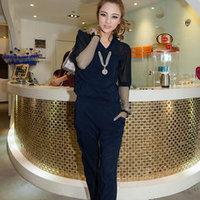 Free Shipping 2014 Summer Turn down Collar  Half sleeve Sexy  Plus Size Women Chiffon Jumpsuit Trousers 1500