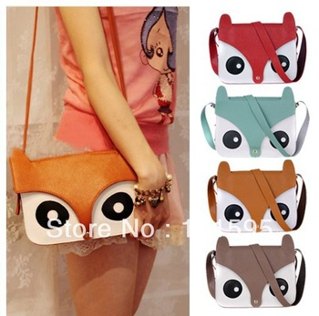 women small/mini Cute cartoon animal fox print bags School Tote Retro fox Shoulder Bag Fashion Owl Fox PU Handbags
