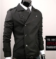 free shipping casual Big Lapelled Double Breasted Men Coat  mens coats  Black 	M/L/XL ZQ11022504