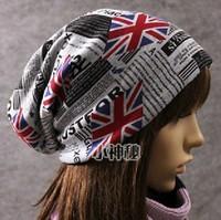 2013 Hot selling popular Personalized Union Jack flag light fleece slouchy skullcap female beanie hat for women