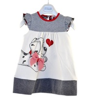 Retail 2013 baby girls clothing the summer new fashion printed cute dog bowtie design dress,princess dress