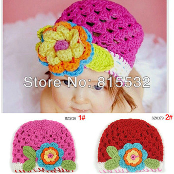 Wholesale 2pcs/lot Cute Newborn 3-18 Month Baby Girl Cotton knit hat crochet Handmade flower Cap Beanie Photo Prop Free shipping