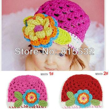 Wholesale 2pcs/lot Cute Newborn 3-18 Month Baby Girl Cotton knit hat crochet Handmade flower Cap Beanie Photo Prop Free shipping