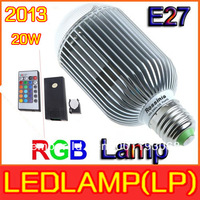 2013 RGB LED Lamp Real 20W  RGB E27 Light Bulb Lamp with Remote Control  High Power Color Changing LED Bulb Lamp with IR Remote