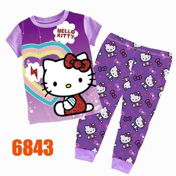 Baby Girls Purple Kitty Clothing sets Kids Autumn -Summer Pajamas Set New 2015 Wholesale Children Cartoon Clothes 6843