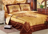 European style 3d oil painting bedding sets 6pcs silk bed sheets luxury comforter set bed cover
