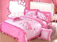 Pink hello kitty kids bedding sets king queen size princess bedding set home textile bed set/bed sheet/duvet cover/pillowcase