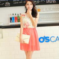 New 2014 Fashion Chiffon Summer Dresses For Women/Floral Printed Women Dresses/Brand Casual Mini Dresses Women