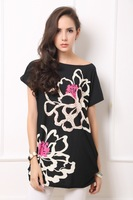 Free Shipping 2013 New Arrival Summer Women Dress Bohemian Style Big Lotus Pattern Large Big Size Many Colors SJ57A6
