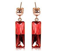 Made With Verified Swarovski Elements Crystal ERA060 Long Charm Rectangular Drop Earrings Thick 18K Gold Plated Free Shipping