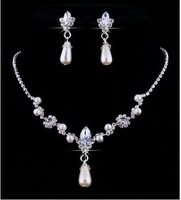 1Set Imitated Pearl Bead Rhinestone Formal Party Wedding Prom Necklace Earring Set