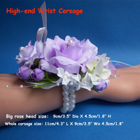 High End  Artificial  Wrist Rose Corsages for Prom or Wedding  With Elastic Bracelet of Pearl,  6pcs / lot,