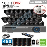 16 Channel 480TVL IR Weatherproof Surveillance CCTV Camera Kit 1TB SATA HDD Home Security DVR Recorder System+ Free Shipping